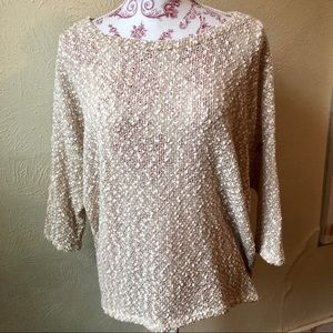 Francesca's Collection Slub Metallic Sweater L